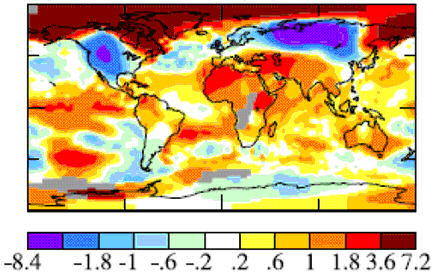 Global map of the December 2009 temperature anomaly (figures in deg C)