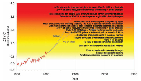 Graphic showing projected risked associated with different levels of global temperature rise (this is Figure TS.6, page 37 of the IPCC 'Impacts, Adaptation and Vulnerability' report mentioned in text).
